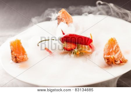 Liquid nitrogen treated salmon and chili pepper