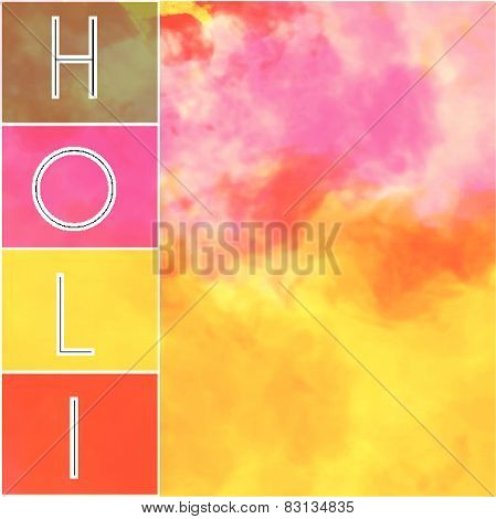 Happy Holi Text With Colorful Background