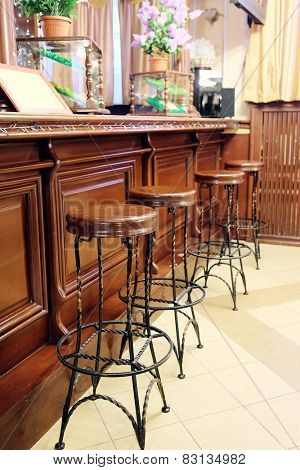 Bar stools in a row by the counter
