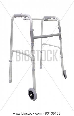Adjustable walker for elderly, disabled isolated on white
