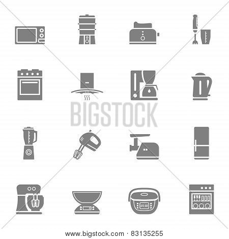 Kitchen appliances vector silhouette icon set