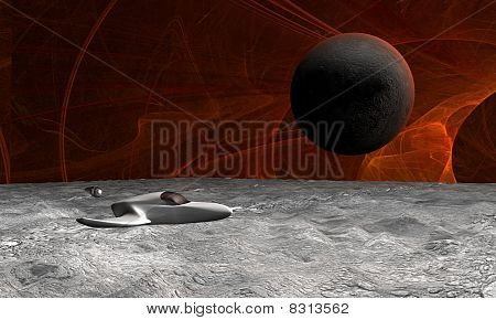 Space Scene Of Sufrace Of Planet With Spaceship