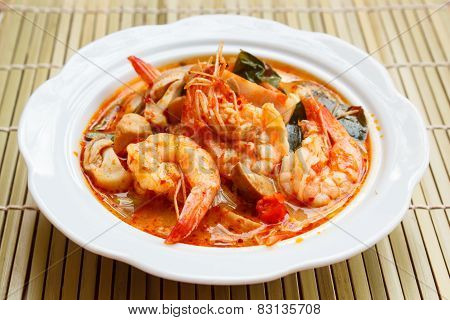 Tom Yum Goong, Spicy Soup With Shrimp.
