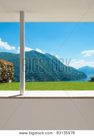 beautiful landscape Lugano lake, view from the terrace of a building