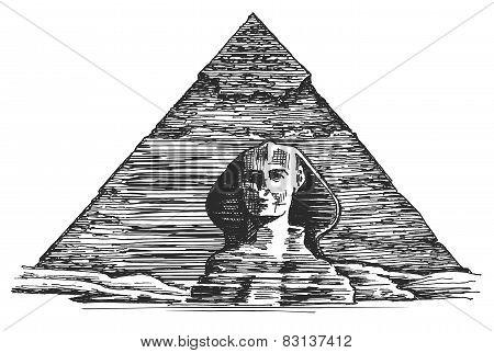 Egypt vector logo design template. Egyptian pyramid or Sphinx icon.