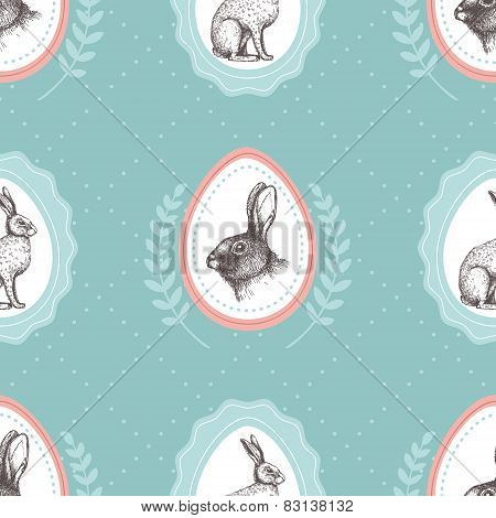 Seamless Vintage Pattern With Ink Hand Drawn  Hare Illustrations.