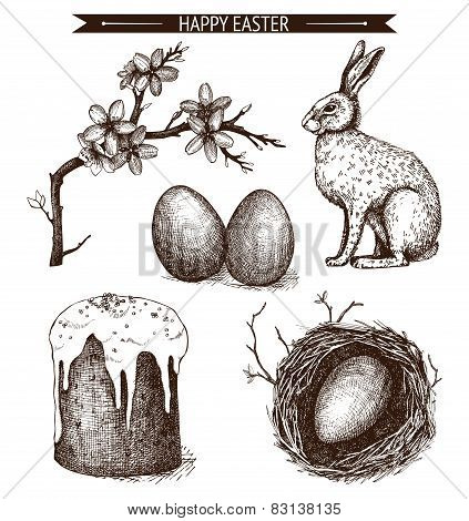 Easter Holiday Sketch Set.