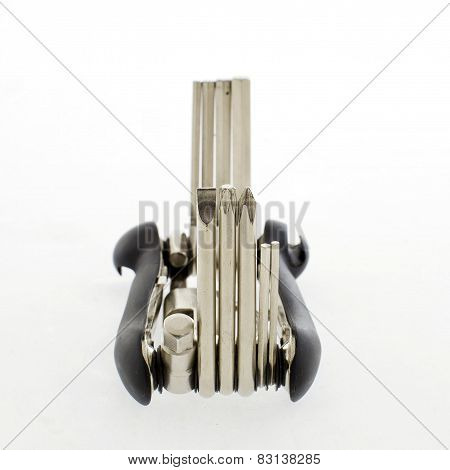 Screwdrivers Multi-tool, Isolated On White Background