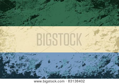 Sierra Leone flag. Grunge background. Vector illustration