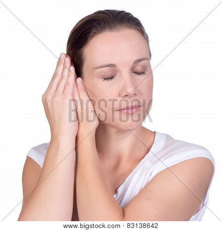 Young Woman Hand Over Ears