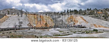 Yellowstone, Wyoming - CIRCA JUNE 2014 - Panoramic Yellowstone, Mammoth Hot Springs, circa June 2014