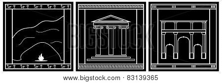 Ancient world architectural styles icons