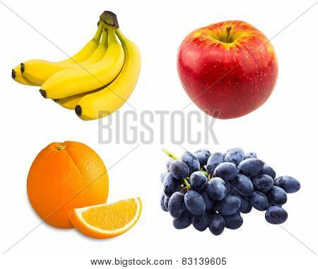 Branch of blue grapes , yellow bananas , Fresh sliced orange and red fresh apple isolated on white b
