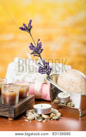oils candles soaps stones flower spa concept