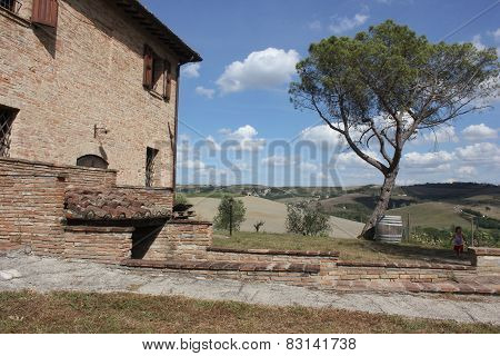 Ancient Farmhouse In Tuscany Landscape