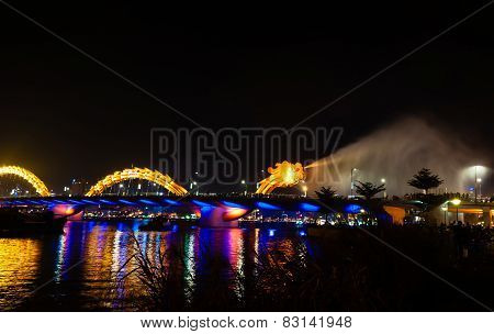 Dragon Bridge Night View Gush Water Danang
