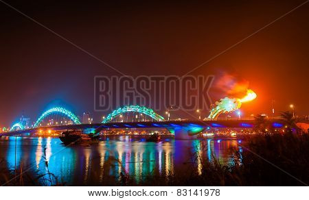 Turquoise Dragon Bridge With Firing In Danang Vietnam