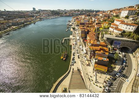 PORTO, PORTUGAL - FEB 17, 2015: Top View of Douro river at center of Porto. In 1996, UNESCO recognised Old Town of Porto as a World Heritage Site.