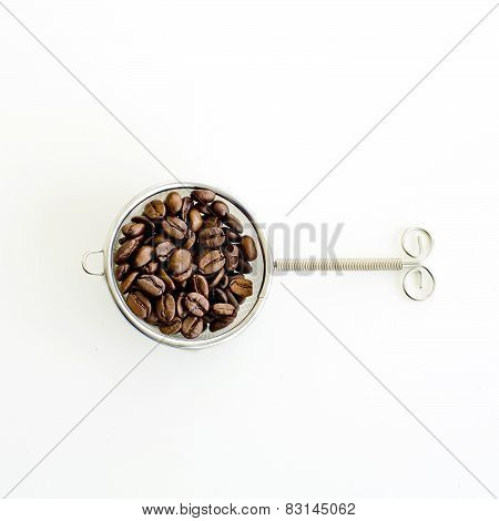 Coffee Bean And Filter On White Background