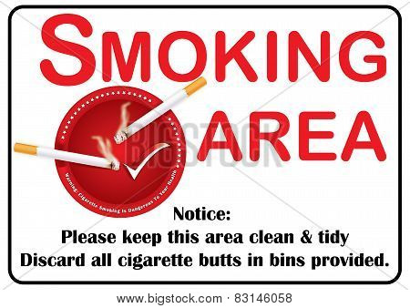 Smoking area sign for print.