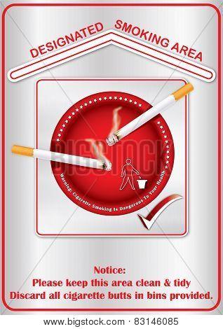 Designated smoking area - label for print