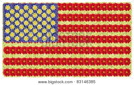Flag Of Usa From Flowers
