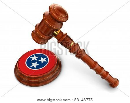 Wooden Mallet and flag Of Tennessee (clipping path included)