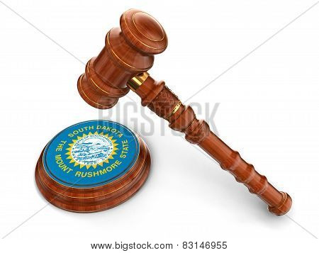 Wooden Mallet and flag Of South Dakota (clipping path included)