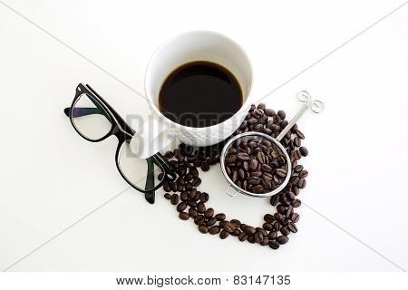 Coffee Cup And Coffee Bean Line Heart Shape And Eyeglasses On White Background