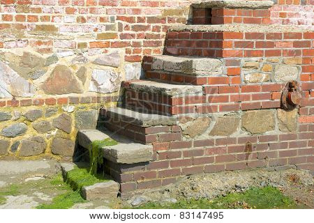 Brick Steps In Seawall. Bonham. England