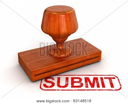 Rubber Stamp submit (clipping path included)