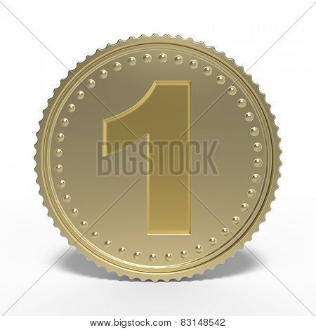 Golden number 1 isolated on white background