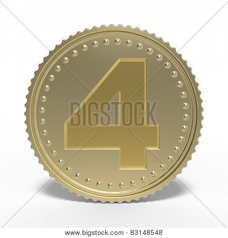 Golden number 4 isolated on white background