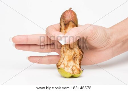 female hand holding a pear-like penis