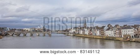 Panorama Of The Servatius Bridge And Old Center Of Maastricht
