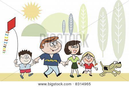 Happy family recreation cartoon