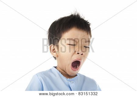 Boy Yawn After Woke Up In The Morning