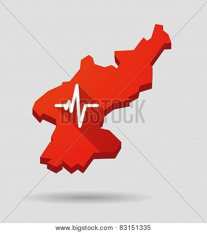 North  Korea Map With A Heart Beat Sign