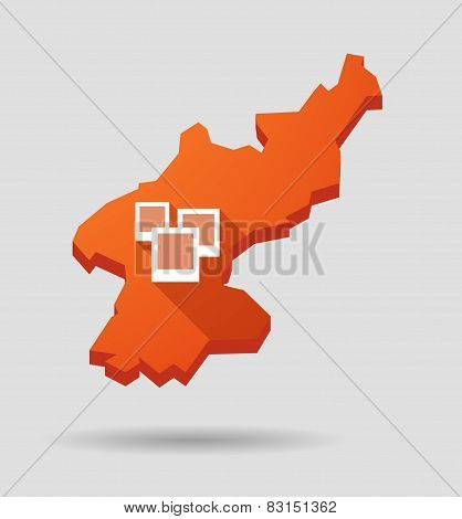 North  Korea Map With A Photo Bunch
