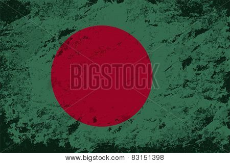 Bangladesh flag. Grunge background. Vector illustration