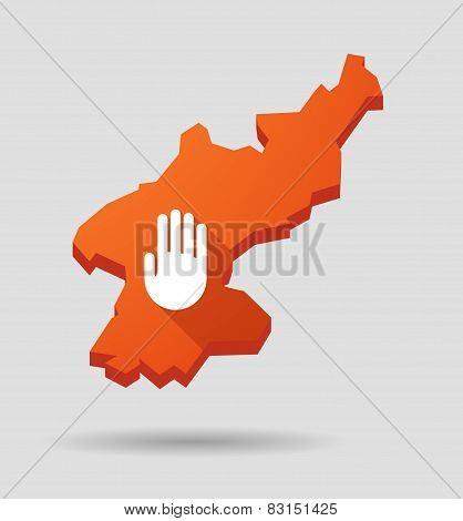 North  Korea Map With A Hand