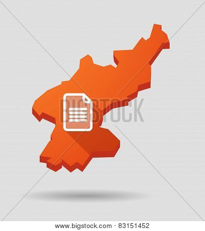 North  Korea Map With A Document