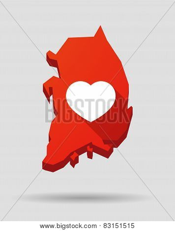 Korea Map With A Heart