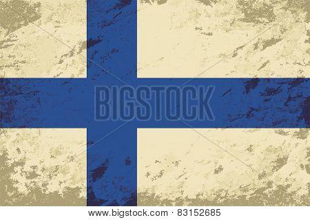 Finnish flag. Grunge background. Vector illustration