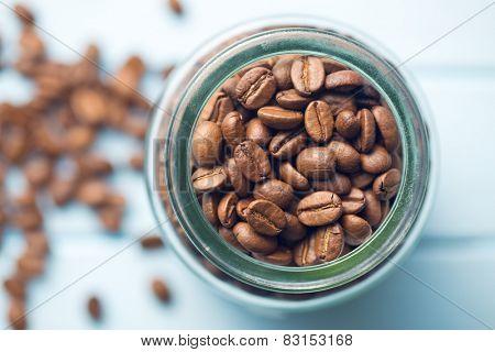top view of coffee beans in jar