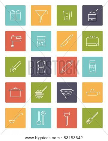 Cooking utensils and appliances Vector Line Icons Collection. Set of 20 kitchen and cooking related line icons in colored squares.