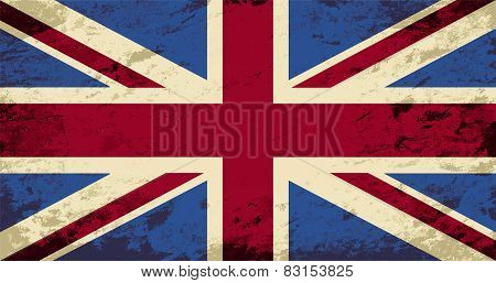 Great Britain flag. Grunge background. Vector illustration