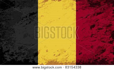 Belgian flag. Grunge background. Vector illustration