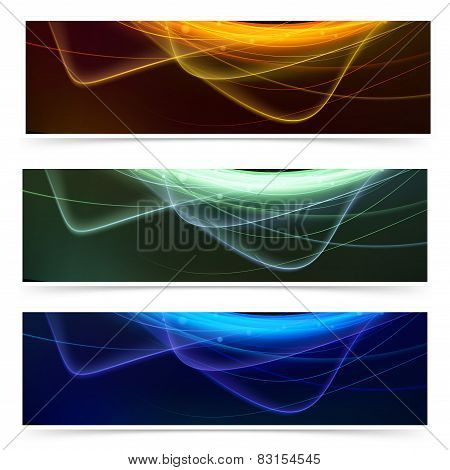 Bright Neon Glow Line Web Footer Set