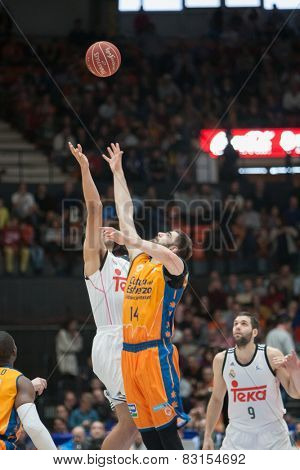 VALENCIA, SPAIN - FEBRUARY 15: Start of the match during Spanish League match between Valencia Basket Club and Real Madrid at Fonteta Stadium on February 15, 2015 in Valencia, Spain